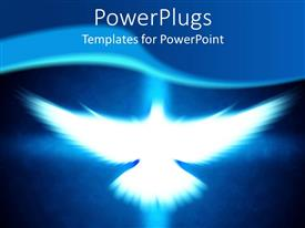 PowerPlugs: PowerPoint template with a depiction of a dove flying with a bluish background