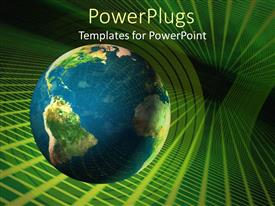PowerPlugs: PowerPoint template with depiction of an earth globe moving through cyber space