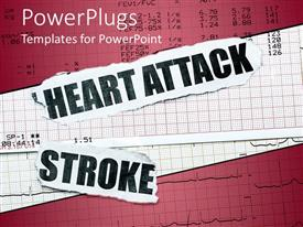 PowerPoint template displaying a depiction of the ECG report along with mentioning heart attack and stroke
