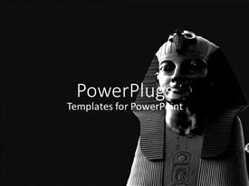 PowerPlugs: PowerPoint template with a depiction of an Egyptian statue with a dark grey background
