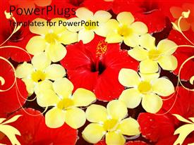 PowerPoint template displaying depiction of eight yellow and red flowers in a circle