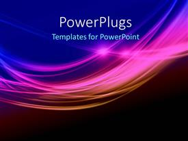 PowerPlugs: PowerPoint template with depiction of elegant colorful waves over blue solid background
