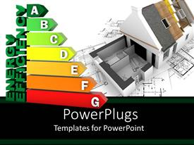 PowerPlugs: PowerPoint template with the depiction of energy efficiency along with a house in the background