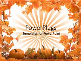 PowerPlugs: PowerPoint template with depiction of fall season with old leaves shedding and pumpkins