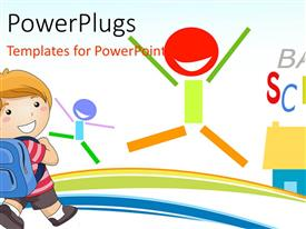 PowerPlugs: PowerPoint template with back to school depiction with kid dressed for school