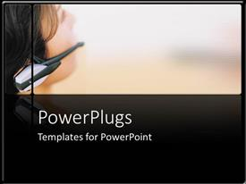 PowerPlugs: PowerPoint template with depiction of a female wearing a head set staring