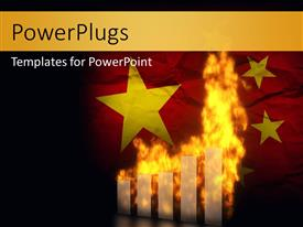 PowerPlugs: PowerPoint template with depiction of financial chart on fire over country flag
