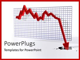 PowerPlugs: PowerPoint template with depiction of financial crisis with downward red 3D arrow on gridlines