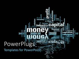 PowerPlugs: PowerPoint template with depiction of financial and industrial terms on Black background