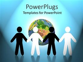 PowerPoint template displaying depiction of four back and white human figures holding hands