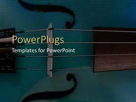 PowerPoint template displaying depiction of four black stings of a musical instrument