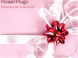 PowerPoint template displaying a depiction a gift wrapped with pinkish background and place for text