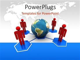 PowerPlugs: PowerPoint template with depiction of global connection with 3D men connected to earth globe