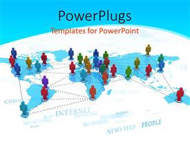 PowerPoint template displaying depiction of global networking with colored people standing on world map connected