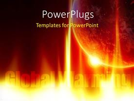 PowerPlugs: PowerPoint template with depiction of global warming with fire surrounding earth globe