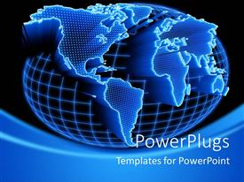 PowerPlugs: PowerPoint template with the depiction of a globe being shown with the continents zoomed in