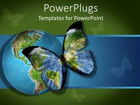 PowerPlugs: PowerPoint template with the depiction of the globe on butterfly's wings along with globe in the background