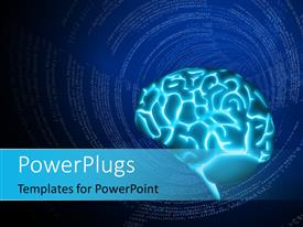 PowerPlugs: PowerPoint template with depiction of a glowing human brain with tech tunnel in the background