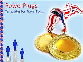 PowerPoint template displaying a depiction of gold medals along with figures on the winning podium