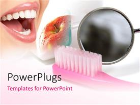 PowerPlugs: PowerPoint template with depiction of good dentition with toothbrush and red apple
