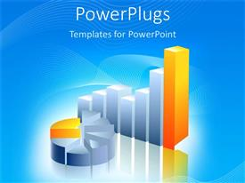PowerPlugs: PowerPoint template with depiction of graphs with colorful bar chart and pie chart
