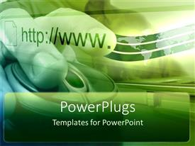 PowerPlugs: PowerPoint template with depiction of green background with human hands on a mouse