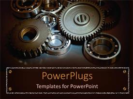 PowerPlugs: PowerPoint template with a depiction of a group of gears together with dark background