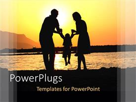 PowerPoint template displaying depiction of happy family near the sea on the beach, mom and dad holding child