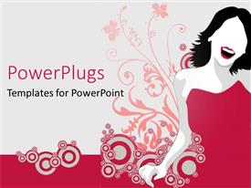 PowerPoint template displaying depiction of a happy lady along with flowers in the background