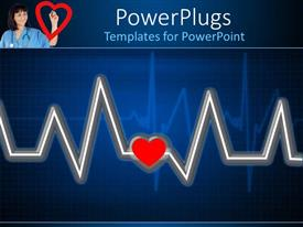 PowerPlugs: PowerPoint template with a depiction of heartbeat line along with a heart in the middle