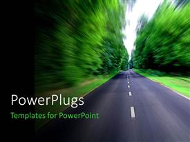 PowerPoint template displaying depiction of high speed with clean road between thick forest