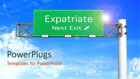 PowerPoint template displaying a sign on the road with clouds int he background
