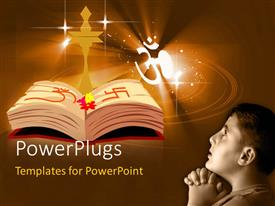 PowerPlugs: PowerPoint template with depiction of Holy book and symbols with young man praying