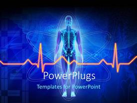PowerPlugs: PowerPoint template with depiction of a human anatomy with ECG wave placed over a technology background