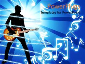 PowerPlugs: PowerPoint template with depiction of human figure playing a guitar on a blue background