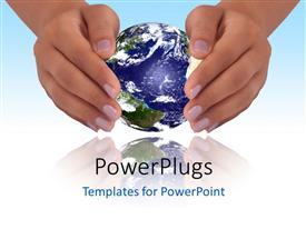 PowerPlugs: PowerPoint template with depiction of human hands protecting blue earth globe