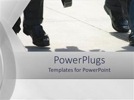 PowerPoint template displaying depiction of human legs in black shoes and trousers