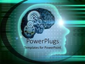 PowerPlugs: PowerPoint template with a depiction of human mind with gears instead of brain
