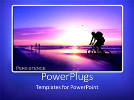 PowerPlugs: PowerPoint template with depiction of a human riding a bicycle with a sunset view