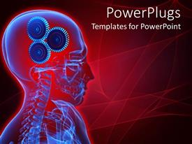 PowerPoint template displaying depiction of a human skeletal system with gears for brains