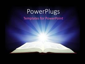 PowerPlugs: PowerPoint template with depiction of insight received from reading holy book with light glow