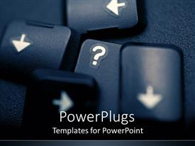 PowerPoint template displaying depiction of a keyboard keys scattered on a black background