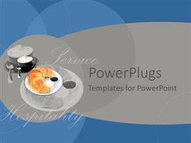 PowerPoint template displaying depiction of kitchen utensils with food and an hospitality service text