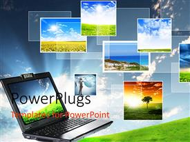 PowerPlugs: PowerPoint template with a depiction of a laptop and different screen savers in the background