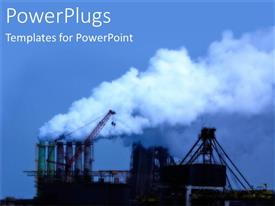 PowerPoint template displaying depiction of a large industrial site and blue smoke