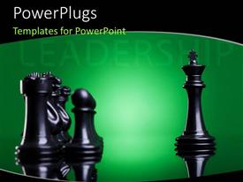 PowerPlugs: PowerPoint template with depiction of leadership with king chess piece leading pawns and officers
