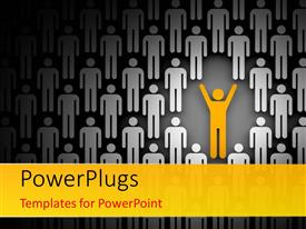 PowerPlugs: PowerPoint template with depiction of leadership with yellow man with raised hands in crowd