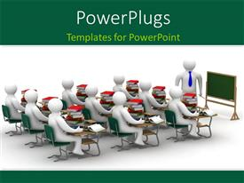 PowerPlugs: PowerPoint template with depiction of learning with students seated in class listening to lecture