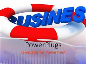 PowerPlugs: PowerPoint template with depiction of a life boat with blue business text
