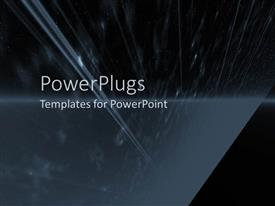 PowerPoint template displaying depiction of light rays falling on black background